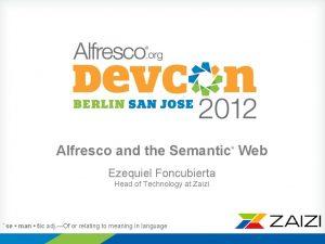 Alfresco and the Semantic Web Ezequiel Foncubierta Head
