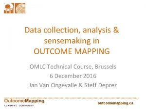 Data collection analysis sensemaking in OUTCOME MAPPING OMLC