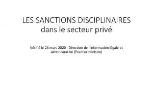 LES SANCTIONS DISCIPLINAIRES dans le secteur priv Vrifi