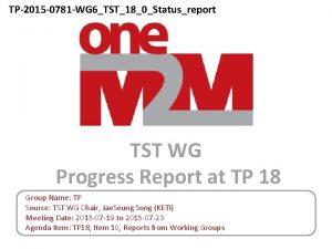 TP2015 0781 WG 6TST180Statusreport TST WG Progress Report