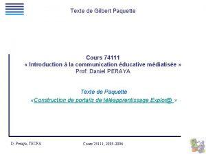 Texte de Gilbert Paquette Cours 74111 Introduction la