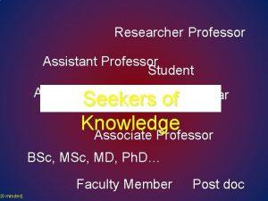 Researcher Professor Assistant Professor Student Academic Scholar Seekers