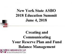 New York State ASBO 2018 Education Summit June