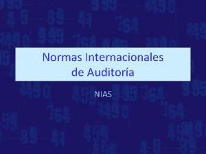 Normas Internacionales de Auditora NIAS Normas internacionales de