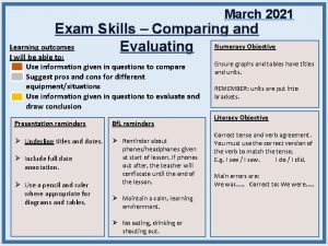 March 2021 Exam Skills Comparing and Learning outcomes
