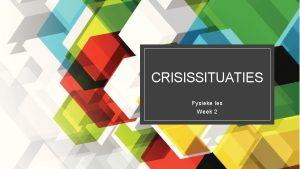 CRISISSITUATIES Fysieke les Week 2 Vandaag Welkom AAR