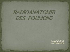 Dr BNOUACHIR Dr ELMANSOURI PLAN INTRODUCTION RAPPEL ANATOMIQUE