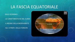 LA FASCIA EQUATORIALE LE CARATTERISTICHE DEL CLIMA La