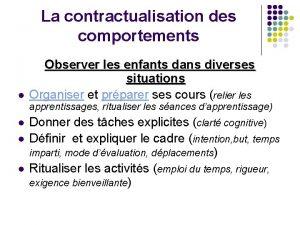 La contractualisation des comportements l Observer les enfants