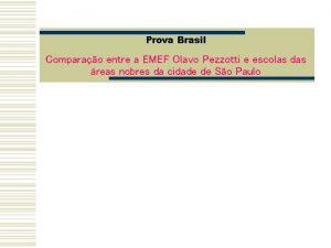 Prova Brasil Comparao entre a EMEF Olavo Pezzotti
