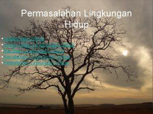 Permasalahan Lingkungan Hidup Unsurunsur Lingkungan Hidup Manfaat Lingkungan