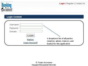 Login Register Contact Us Login Content Username Password