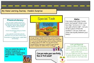 My Home Learning Journey Handas Surprise PhonicsLiteracy Special