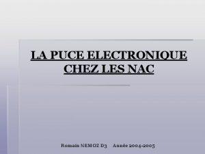 LA PUCE ELECTRONIQUE CHEZ LES NAC Romain NEMOZ