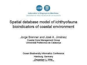 Spatial database model of ichthyofauna bioindicators of coastal