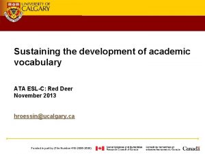 Sustaining the development of academic vocabulary ATA ESLC