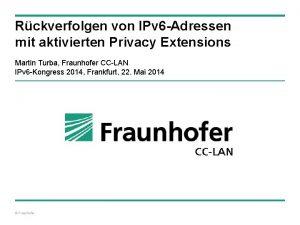 Rckverfolgen von IPv 6 Adressen mit aktivierten Privacy