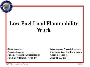 Low Fuel Load Flammability Work Steve Summer Project