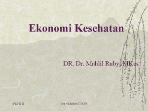 Ekonomi Kesehatan DR Dr Mahlil Ruby MKes 3122021