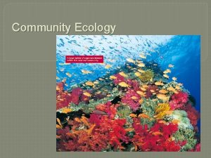 Community Ecology Community Def all the populations of
