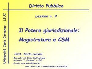 Universit Carlo Cattaneo LIUC Diritto Pubblico Lezione n