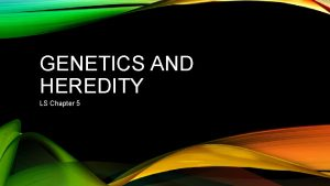 GENETICS AND HEREDITY LS Chapter 5 GENETICS AND