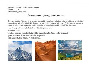 Predmet Ekologija i zatita ivotne sredine Razred I1