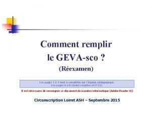 Comment remplir le GEVAsco Rexamen Les pages 1