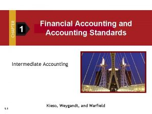 1 Financial Accounting and Accounting Standards Intermediate Accounting