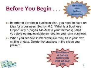 Before You Begin Remove slide before presenting In