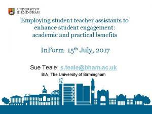 Employing student teacher assistants to enhance student engagement