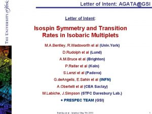 Letter of Intent AGATAGSI Letter of Intent Isospin