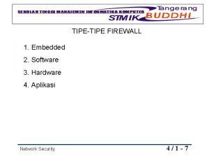 TIPETIPE FIREWALL 1 Embedded 2 Software 3 Hardware