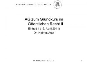 AG zum Grundkurs im ffentlichen Recht II Einheit