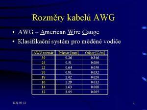 Rozmry kabel AWG AWG American Wire Gauge Klasifikan
