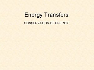 Energy Transfers CONSERVATION OF ENERGY ENERGY Energy resources
