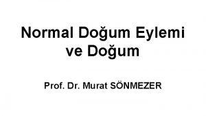 Normal Doum Eylemi ve Doum Prof Dr Murat