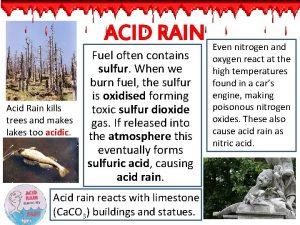 ACID RAIN Acid Rain kills trees and makes