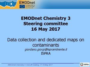 EMODnet Chemistry 3 Steering committee 16 May 2017
