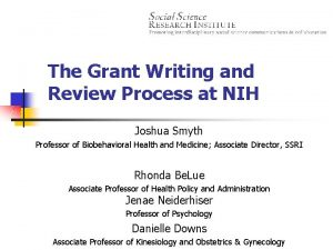 The Grant Writing and Review Process at NIH