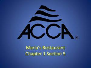 Marias Restaurant Chapter 1 Section 5 Marias Restaurant
