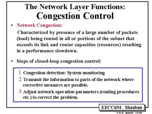 The Network Layer Functions Congestion Control Network Congestion