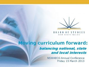 Moving curriculum forward balancing national state and local