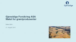 Gjensidige Forsikring ASA Mtet for grntprodusenter Balke Grd