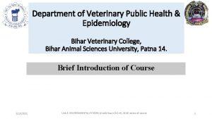 Department of Veterinary Public Health Epidemiology Bihar Veterinary