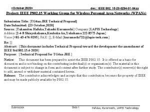 October 2020 doc IEEE 802 15 20 0294