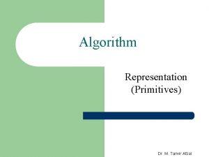 Algorithm Representation Primitives Dr M Tanvir Afzal Algorithm