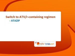 Switch to ATVrcontaining regimen ATAZIP ATAZIP Study Switch
