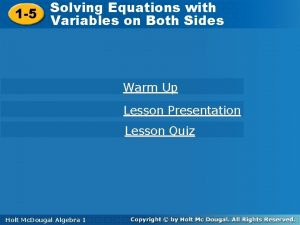 Solving Equations with Solving Equations 1 5 Variables