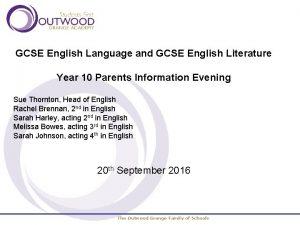 GCSE English Language and GCSE English Literature Year